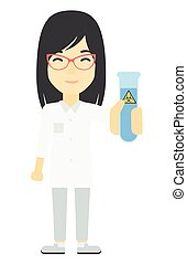 Laboratory assistant with test tube. - An asian laboratory...