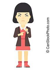 Angry boss pointing at wrist watch - An asian angry boss...