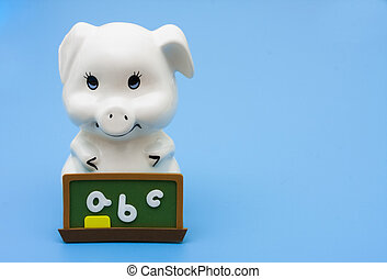 Good grades on your saving plan - A piggy bank with a...