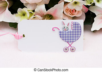 Welcoming a new baby - Baby present gift tag with a baby...