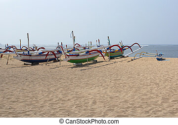 Sanur, Bali, Indonesia, Asia - Fishing boats on the beach of...