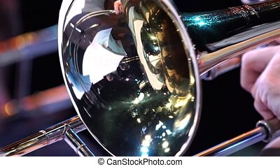 Fragment trumpet closeup. Trumpet player jazz music....