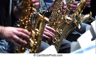 Saxophone player jazz music instrument Saxophonist with sax...
