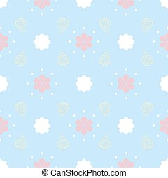 Gentle seamless pattern with flowers and dots