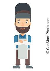 Confident smiling welder - A hipster welder with the beard...