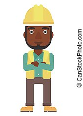 Friendly builder with arms crossed - An african-american...