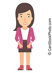 Embarrassed young woman - Embarrassed woman vector flat...