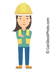Friendly builder with arms crossed. - Confident constructor...