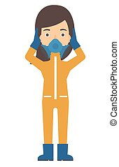 Woman in protective chemical suit - A woman in protective...
