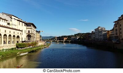 Florence, Italy. The Arno river. - Florence, Italy view of...