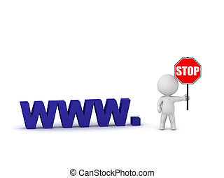 3D Character and Blocked Website - 3D character with a Stop...