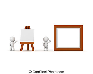 3D Characters Showing Artsy Easel and Painting Frame