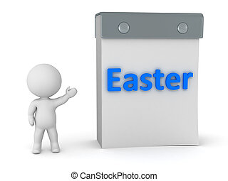 3D Character Showing Calendar with Easter - 3D character...