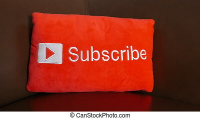 YouTube subscribe button - Dolly parallax slide focused on a...