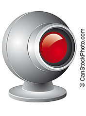 webcam - Webcam illustration with red lens isolated on white...