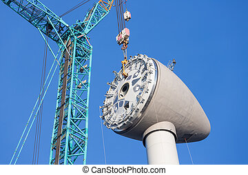 Installing rotor house at the top of a new Dutch wind turbine