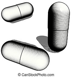 3 graphical black and white pills in mezzo woodcut style