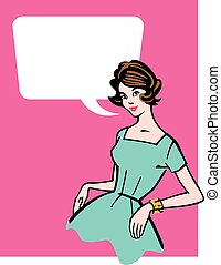 Retro 1950s Housewife - Vector illustration of stereotypical...