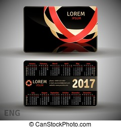 English pocket black colors calendar for 2017, vector...