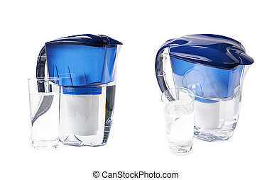Water filter pitcher isolated