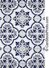 Portuguese glazed ceramic tiles - Blue pattern detail of...