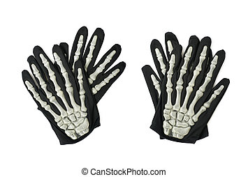 Skeleton hand glove isolated - Pair of skeleton hand gloves...