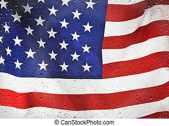 American flag with raindrops