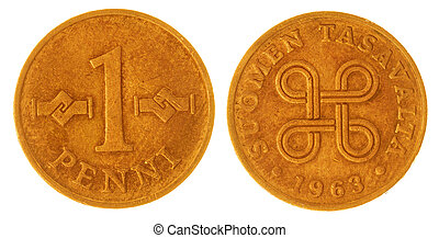 1 penni 1963 coin isolated on white background, Finland -...