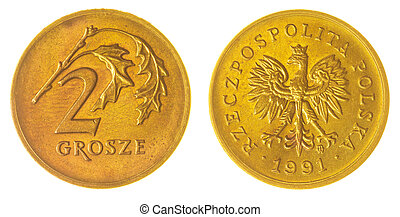 2 grosze 1991 coin isolated on white background, Poland -...