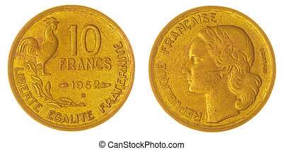 10 francs 1952 coin isolated on white background, France -...
