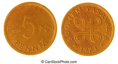 5 pennia 1973 coin isolated on white background, Finland -...
