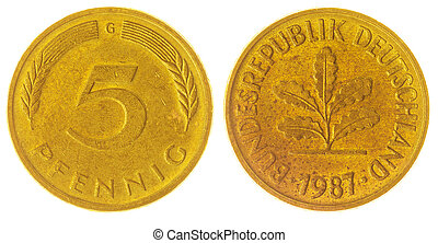 5 pfennig 1987 coin isolated on white background, West...