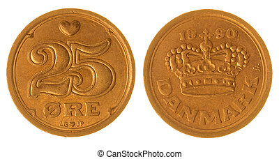 25 ore 1990 coin isolated on white background, Denmark -...