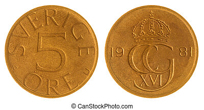 5 ore 1981 coin isolated on white background, Sweden -...