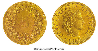 5 rappen 1988 coin isolated on white background, Switzerland...