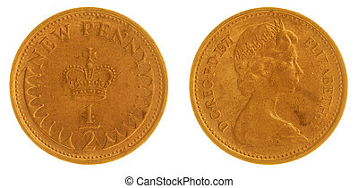 Half penny 1971 coin isolated on white background, Great...