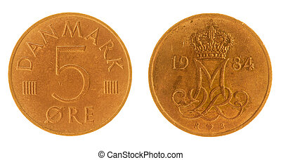 5 ore 1984 coin isolated on white background, Denmark -...