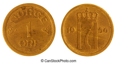 1 ore 1956 coin isolated on white background, Norway -...