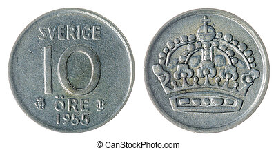 10 ore 1955 coin isolated on white background, Sweden -...