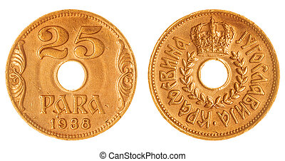 25 para 1938 coin isolated on white background, Yugoslavia -...