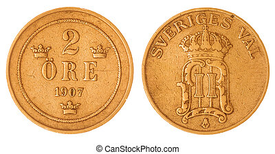 2 ore 1907 coin isolated on white background, Sweden -...