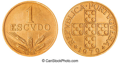1 escudo 1979 coin isolated on white background, Portugal -...
