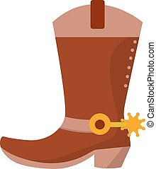 Wild west leather cowboy boot with spurs and stars. Vector clip art illustration isolated on white