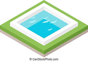 Water pool summer isometric fun concept 3d flat vector. -...