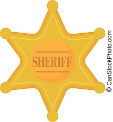 Golden west sheriff star metal badge vector illustration. -...