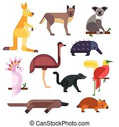 Australia wild animals cartoon vector collection Australia...