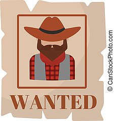 Most wanted man in hat poster concept grunge vector...