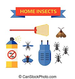 Pest control worker spraying pesticides home insects vector...