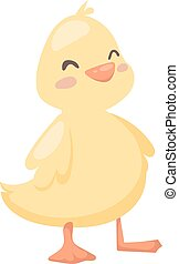 Cartoon duck toy animal yellow character flat vector - Duck...
