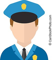 Police man officer avatar in suit and cap vector...